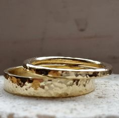 14k Gold Wedding Band Rings Classic Gold Rings Set Timeless