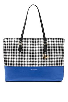 DVF Voyage Gingham Colorblock Leather Large Tote
