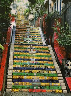 Escadaria Selarón, Rio de Janeiro. Jorge Selarón took nearly 20 years to cover the 215 stairs near where he lived (the Lapa and Santa Teresa neighborhoods), with ceramic & porcelain tiles donated by friends & supporters. Info from link