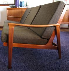 Parker Furniture. Mid Century Danish.Restored three seater lounge with original foam and fabric.