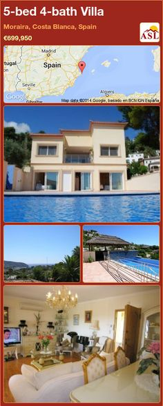 5-bed 4-bath Villa in Moraira, Costa Blanca, Spain ►€699,950 #PropertyForSaleInSpain