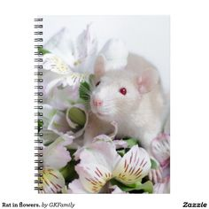 Rat in flowers. spiral note book