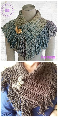 Crochet Poncho, Knit Or Crochet, Crochet Scarves, Crochet Clothes, Free Crochet, Crocheted Scarves Free Patterns, Crochet Cowl Free Pattern, Quick Crochet, Caron Cake Crochet Patterns