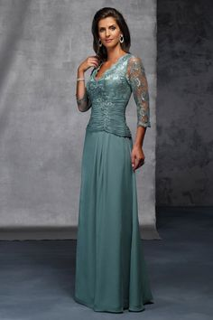 Attractive Mother Of The Bride Dresses V Neck Floor Length With 3 4 Length Sleeve Online Sale