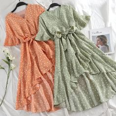 Korean Style Polka Dot Ruffle Midi Dress Source by outfits Elegant Dresses, Pretty Dresses, Vintage Dresses, Beautiful Dresses, Cute Casual Outfits, Casual Dresses, Sexy Dresses, Summer Dresses, Formal Dresses