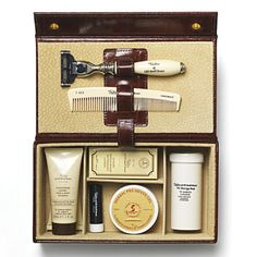 grooming box from Taylor of Old Bond street represents the ultimate in men's shaving.This grooming box from Taylor of Old Bond street represents the ultimate in men's shaving. Christmas Presents For Men, Presents For Him, Beard Grooming Kits, Men's Grooming, Leather Box, Brown Leather, Bond Street, Mode Masculine, Top Gifts