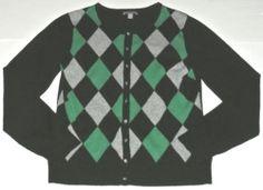 100% Cashmere Argyle Cardigan Sweater Button Up Down Size M Apt. 9 Ladies Womens