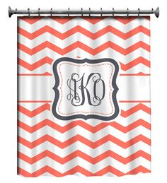 Personalized Shower Curtain  Coral & White Chevron by redbeauty, $78.00