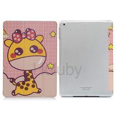 Cartoon Pattern Smart Wake Sleep Tri-fold Stand Transparent PC+PU Leather Case for iPad Mini iPad Mini 2 Retina iPad Mini 3