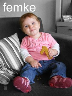 Femke, the daughter of a friend & colleague, turned 1. Replaced the cookie in her hand for a '1' shaped cookie.