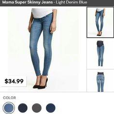 "MAMA SUPER SKINNY Maternity Jeans NWOT. fits like jeggings . Inseam - 30"" H&M Jeans Skinny"