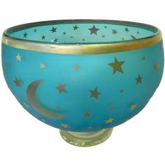 Moon and Stars Gilt Decor Glass Bowl Murano Signed ❤ liked on Polyvore