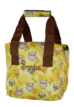 Popular this year when heading back to school. Another great item from Simply Bags. Personalized Lunch Bags, Insulated Lunch Tote, Giveaways, Diaper Bag, Lunch Box, Owl, Monogram, My Style, School