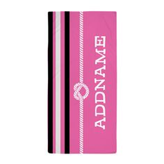 Pink Stripes Nautical Rope Personalize Beach Towel