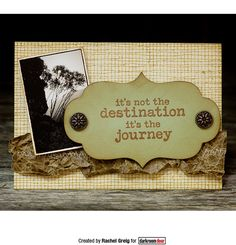 Card by Rachel Greig using Darkroom Door Mesh Background Stamp, Sizzix Tim Holtz Die, Wilderness Montage image and quote from Vintage Automobiles Rubber Stamps.