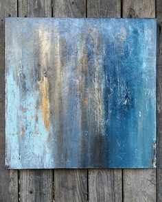 Teal Blue Gold Distressed Abstract Painting 24 x 24 Boho #OilPaintingBlue #OilPaintingDisney