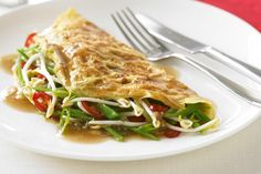 This traditional Asian omelette is full of healthy greens and some chilli for extra kick.