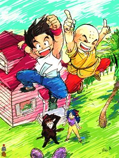 Kid Goku, Krillin, Roshi. #DBZ #dragonballz