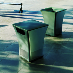 Pitch is a litter receptacle with flair. It offers an attractive choice for stand-alone applications as well. The small footprint relative to capacity of this receptacle makes it a boon for tight spaces. Offered with top or side opening, its lift-off top enables it to be placed anywhere. Pitch's cast-iron base is heavy and stable, its aluminum sides are perforated for ventilation, its rotationally-molded top is easy to remove and clean, and its black poly liner is made of 100% recycled…
