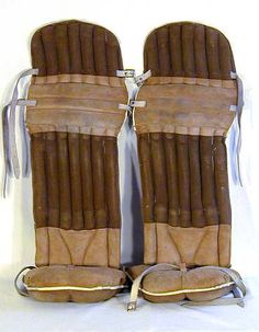 These vintage hockey goalie pads were made by Olympic. They are the only pair we have ever handled from this era . Hockey Goalie Pads, Goalie Gear, Goalie Mask, Hockey Puck, Hockey Room, Vintage Sportswear, Hockey Games, Electronic Art, Olympic Games