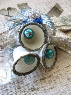 Vintage Christmas Corsage - Bells -  glass ball - Blue Silver
