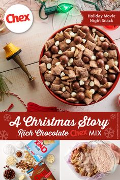 Get ready for the rich, creamy delicious mix all of your friends and relatives will be raving about this season. Make it while you watch your favorite holiday movie and serve it as a snack or dessert for the season's many parties and festivities. Christmas Snack Mix, Holiday Snacks, Christmas Breakfast, Christmas Sweets, Holiday Recipes, Christmas Goodies, Puppy Chow Recipes, Snack Mix Recipes, Chex Recipes