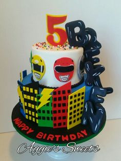 Power Rangers Birthday Cake Tortas Power Rangers, Bolo Power Rangers, Power Rangers Birthday Cake, Power Ranger Cake, Pawer Rangers, 3rd Birthday Cakes, 6th Birthday Parties, Sister Birthday, Birthday Ideas