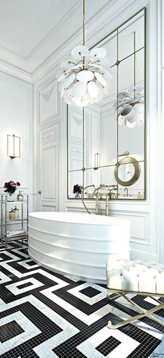 FOR THE HOME || Glamorous white, black & gold bathroom with free standing bathtub & chandelier || NOVELA BRIDE...where the modern romantics play & plan the most stylish weddings... http://www.novelabride.com /novelabride/ #jointheclique