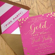"""Pink and gold foil stamped invitation for a holiday """"pink party"""" celebrating friendship, ADORABLE!! So Kate Spade I Custom by Nico and Lala"""