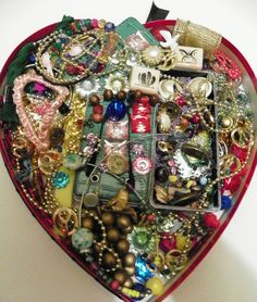 JUNK DRAWER JEWELRY, CRAFT, REPAIR, gems, stamps, beads, FUN LOT .2 .  ETC... #VINTAGE