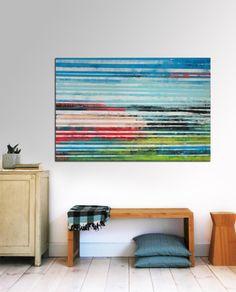 Large Abstract Schilderij  Striped Colors  Acrylic door RonaldHunter, $269.00