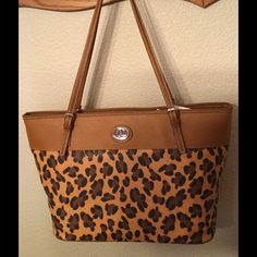 New Caryland Tote , Leopard, tobacco, See pics, Caryland Bags Totes