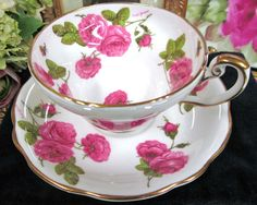 FOLEY TEA CUP AND SAUCER PAINTED ROSES ARTIST SIGNED CENTURY ROSE PATTERN in Antiques | eBay