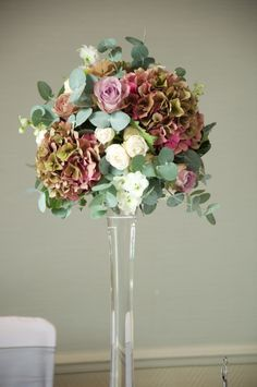 vintage hydrangea and rose wedding flower arrangements