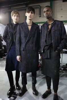 Three's a crowd backstage at Dries Van Noten Men's RTW Fall 2015. [Photo by Delphine Achard]