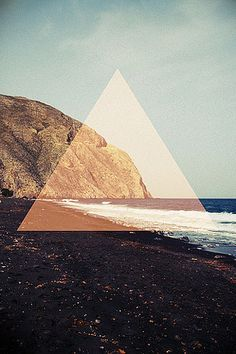 triangle, ocean. cliff, print.