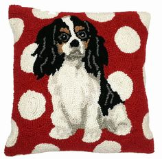"Tri-Color Cavalier King Charles Spaniel Polka Dots - 14"" x 14"" Wool Hooked Pillow"