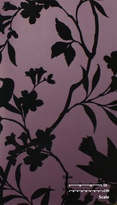 Birds in Trees Velvet Flocked Wallpaper in Plum and Black from the Plush Collection by Burke Decor