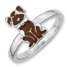 Hippest Silver Brown Enamel Dog Stackable Ring Band. Sizes 5-10 Available Jewelry Pot. $25.99. 30 Day Money Back Guarantee. Your item will be shipped the same or next weekday!. 100% Satisfaction Guarantee. Questions? Call 866-923-4446. Fabulous Promotions and Discounts!. All Genuine Diamonds, Gemstones, Materials, and Precious Metals