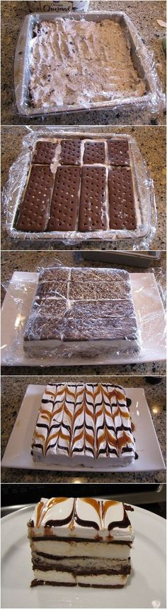 Lazy Ice Cream Cake. It Looks Fancy, But It's Such An Easy Chocolate And Caramel Dessert! Ingredients: 12 ice cream sandwiches any flavor, Ice cream, any flavor softened, Ice cream topping, such as caramel, hot fudge, strawberry, etc., Whipped Topping. Directions: Line an 8″ x 8″ pan with saran wrap. Using half the sandwiches, make a single layer. Cover the ice cream sandwiches with softened ice cream- try to make an even layer. (used about ⅓ of a tub of Cookies 'n Cream). Cover the ice cream wi