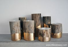 Simple Winter Wedding DIY Projects // Gold-dipped Log Candle Holder // see you - Decoration Trends Gold Diy, Tea Light Candles, Tea Lights, Gold Candles, Votive Candles, Scented Candles, Velas Diy, Log Candle Holders, Votive Holder