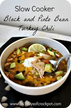 365 Days of Slow Cooking: Recipe for Slow Cooker (crock pot) Spicy Black and Pinto Bean Turkey Chili