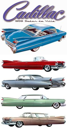 "1959 Cadillacs Note the ""flat-top"" hard tops, as compared to the 6-window sedan."