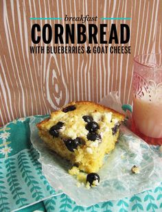 Breakfast Cornbread w/blueberries & goat cheese ~ recipe from: take a megabite