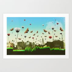 butterfly invasion with poppies Art Print by Trevor Bittinger - $15.00