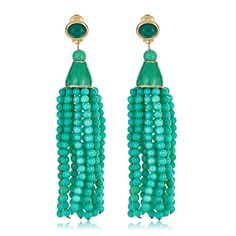 Shop Jade Beaded Tassel Earrings by Kenneth Jay Lane and our Tassel Earrings Collection at HAUTEheadquarters.com Today!