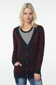 Shop sweaters & cardigans at Ardene for button-front layers and pullover options. Get chunky knits and chenille in off shoulder and trendy knotted styles. Off Shoulder Fashion, Sweater Shop, Knit Cardigan, Burgundy, Pullover, Hoodies, Knitting, Tees, My Style