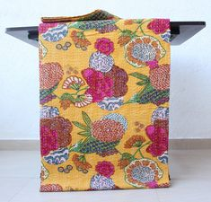 Indian Cotton Kantha Quilt Bohemian Bedding Twin Size Floral Print Blanket Throw #Handmade #Traditional