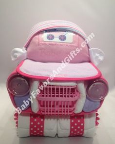 Pink Car Diaper Cake - pink for girl Zebra Diaper Cakes, Airplane Diaper Cakes, Butterfly Diaper Cake, Tricycle Diaper Cakes, Diaper Motorcycle Cake, Baby Shower Diapers, Baby Shower Gifts, Baby Gifts, Baby Shower Centerpieces