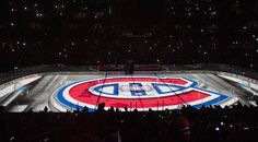 A Montreal Canadiens' logo is shown prior to game three first round NHL Stanley Cup playoff action against the Tampa Bay Lightning in Montreal, Sunday, April 20, 2014.